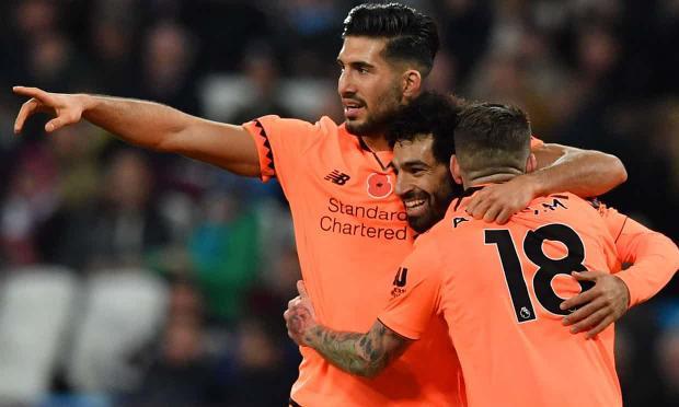 Niềm vui của Mohamed Salah khi ghi bàn thứ 4 cho Liverpool.