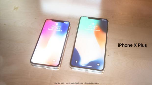 Chiếc iPhone X Plus trong hình dung của Martin Hajek đặt cạnh iPhone X.