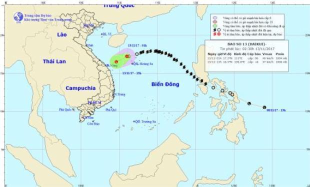 Hướng đi của cơn bão suy yếu thành áp thấp nhiệt đới ngay trên biển. Ảnh: NHCMF