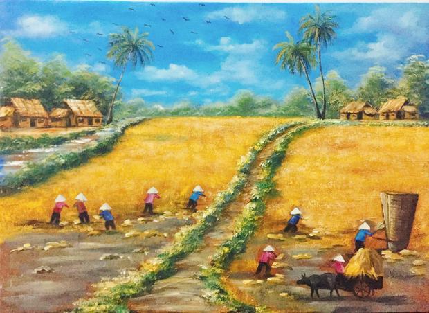 Hé lộ về món quà đặc biệt này, Thuỳ Dung cho biết bức tranh khắc hoạ cảnh những người nông dân đang miệt mài gặt lúa chín trên cánh đồng thanh bình cùng mái nhà tranh, hàng dừa, ụ rơm, con đường làng hay bầu trời xanh ngắt.Toàn cảnh bức tranh với những tông màu tươi sáng, bắt mắt, gợi lên sức sống, niềm tin và sự hy vọng cho con người.