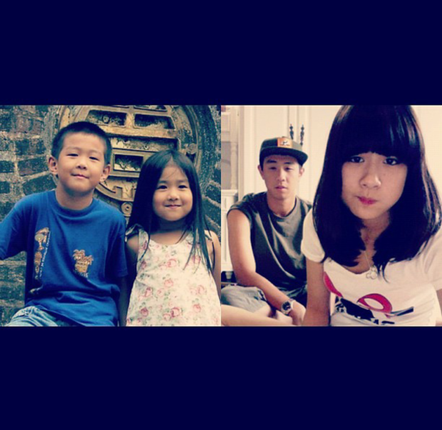 Anh chàng thường xuyên đăng ảnh ngày ấy - bây giờ chụp cùng cô em gái Thu Trang của mình