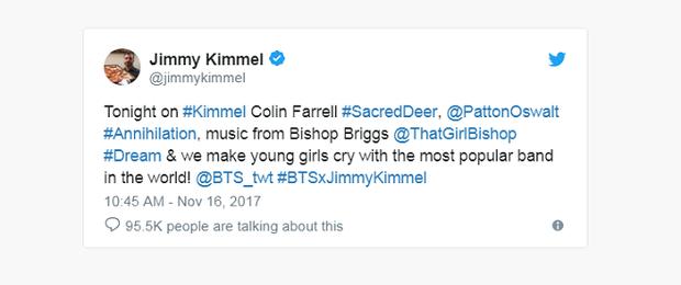 Jimmy Kimmel và James Corden gọi BTS là nhóm nhạc nam nổi tiếng nhất thế giới khiến cộng đồng fan One Direcion phẫn nộ.