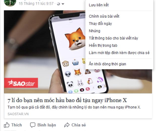 """Không còn tuỳ chọn """"Delete"""" (Xoá) ở các status, ảnh, đường link bạn share về."""