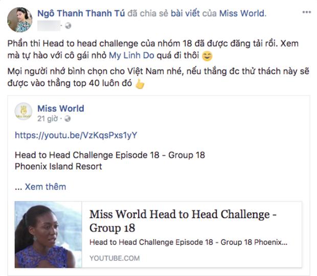 Á hậu Ngô Thanh Thanh Tú cũng kêu gọi khán giả bình chọn cho đại diện Việt Nam để Đỗ Mỹ Linh có cơ hội tiến sâu hơn ở đêm chung kết.