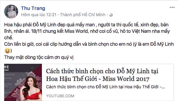 Diễn viên Thu Trang khen Mỹ Linh vừa xinh đẹp, bản lĩnh và nhân ái. Đồng thời, cô không quên kêu gọi mọi người hãy ủng hộ Hoa hậu Việt Nam trước thềm Chung kết Hoa hậu thế giới.