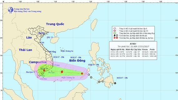 Cơn bão di chuyển từ Biển Đông đổ bộ vào khu vực Nam Trung Bộ đến Bà Rịa - Vũng Tàu.
