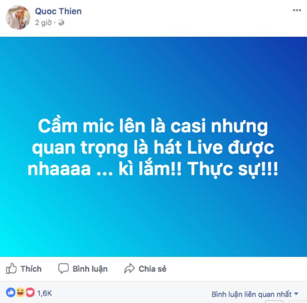 Quốc Thiên cũng có động thái không hài lòng về màn live đang được chia sẻ chóng mặt này.