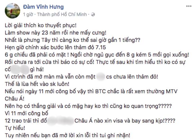 Đàm Vĩnh Hưng đăng đàn đáp trả MTV Việt Nam.