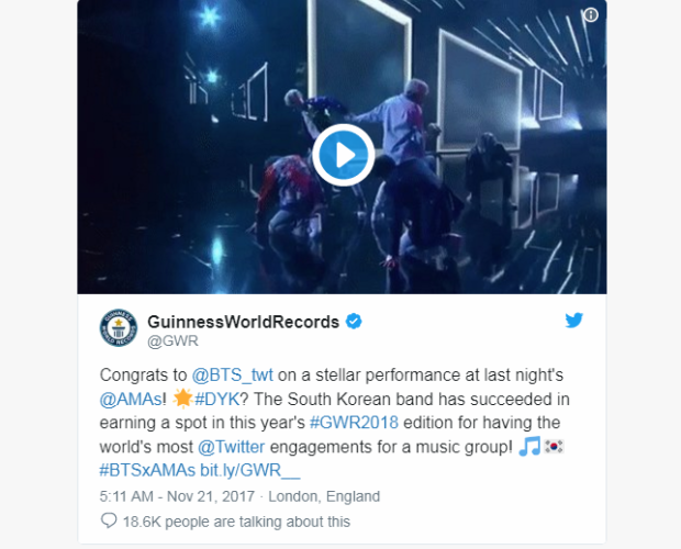 Dòng chia sẻ của GuinnessWorldRecords (Kỷ lục Guinness thế giới) về kỷ lục mới của BTS.
