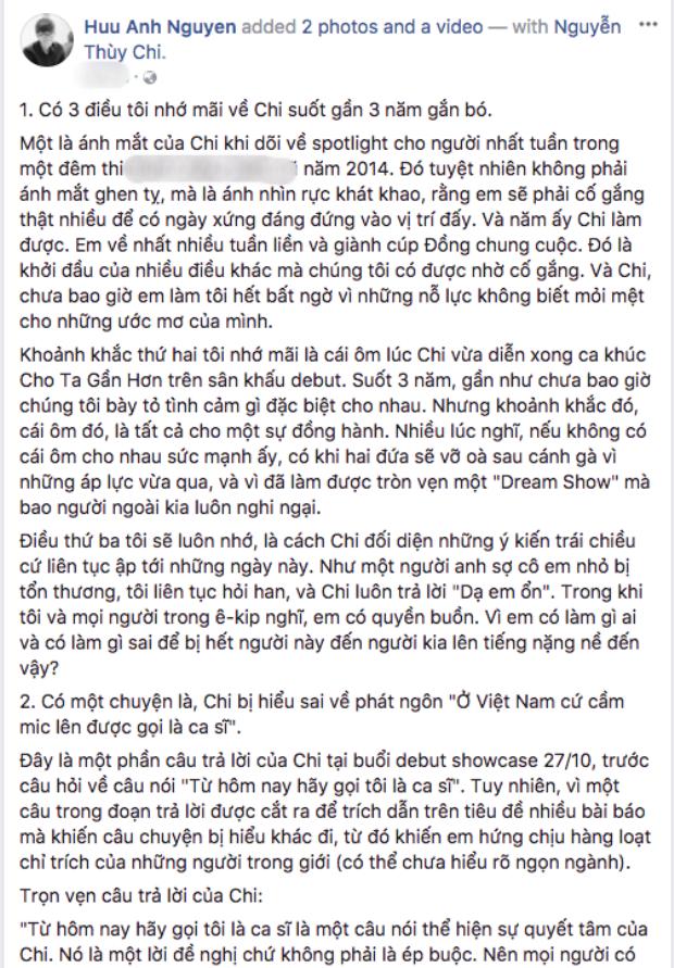 Nguyên văn bài đăng của quản lý Chi Pu.
