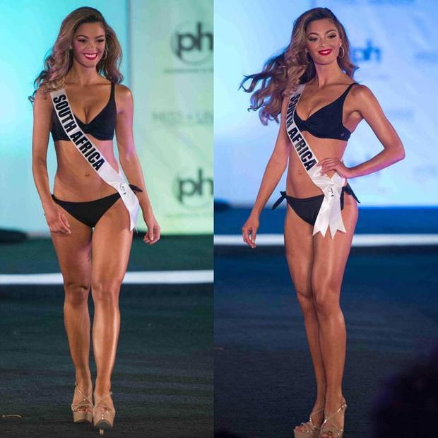 """Đại diện đến từ """"lục địa đen"""" Demi-Leigh Nel-Peters năm nay 21 tuổi.Sở hữu gương mặt đẹp, sắc sảo từng đường nét, thân hình gợi cảm, Demi-Leigh hứa hẹn sẽ đem về thành tích cao cho đất nước Nam Phi trong năm nay."""