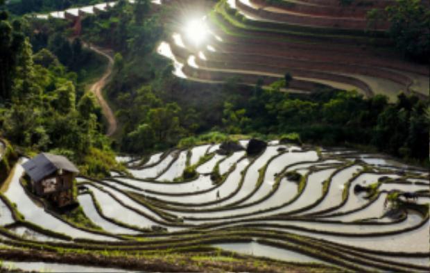 Mùa nước đổ, Hoàng Su Phì mang vẻ đẹp rất riêng của đất, nước và trời. Ảnh: Chu Việt Bắc.