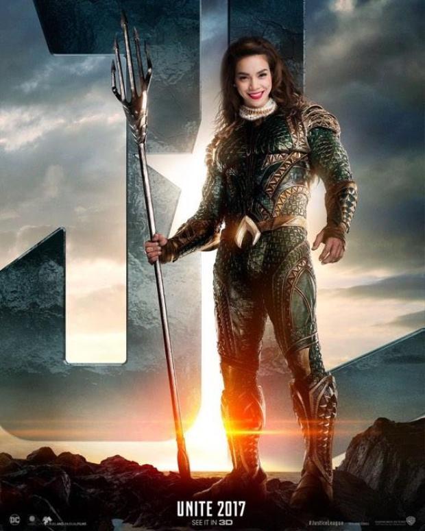 Bất ngờ lớn nhất có lẽ là Aquaman do Hồ Ngọc Hà thể hiện. Vì sao? Vì mái tóc của nữ ca sĩ phù hợp với vị thần đại dương này chăng?