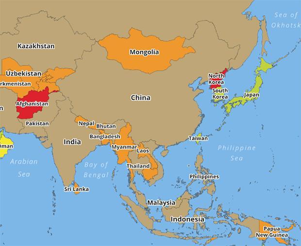 Việt Nam cùng nhiều nước châu Á khác cùng được đánh giá là không an toàn.