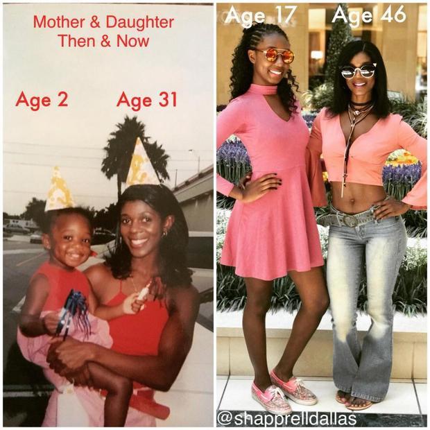 Dường như chẳng có nhiều điều khác biệt nhiều giữa bà mẹ Shapprell Dallas 46 tuổi và con gái 17 tuổi.