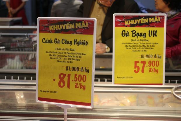 Giá gà tại 1 siêu thị ở Hà Nội.