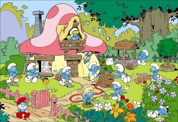Ngôi làng được mô phỏng theo phim hoạt hình Xì trum nổi tiếng. So với phiên bản hoạt hình, các chi tiết được xây dựng khá chân thực với năm bảy ngôi nhà nấm nhỏ xinh và hàng chục chú xì trum theo kích thước lớn bé khác nhau.