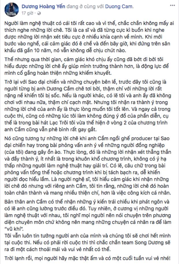 """Dương Hoàng Yến lên tiếng bênh vực nhạc sĩ Dương Cầm giữa """"bão"""" dư luận về phát ngôn của anh dành cho Miu Lê."""