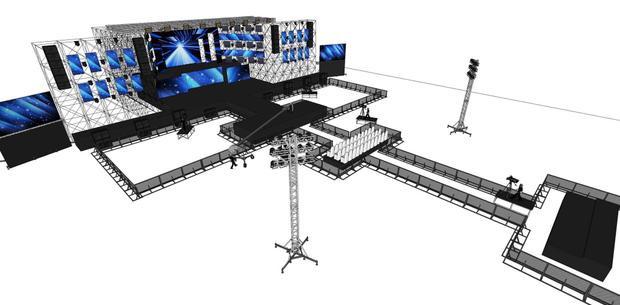 Phần sàn sân khấu được thiết kế theo hình chữ I hứa hẹn sẽ giúp Noo có thể tiếp cận và giao lưu với khán giả ở khoảng cách cực gần.