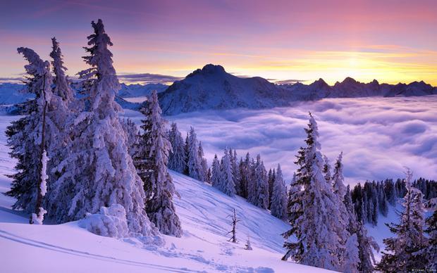 Hoàng hôn Mùa đông, Núi Tegelberg (Bavaria, Đức)