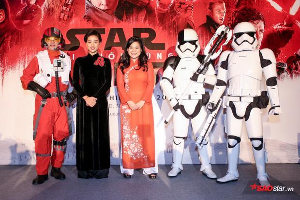 Ngô Thanh Vân tự hào mời diễn viên gốc Việt Kelly Marie Trần diện áo dài tại họp báo phim Star Wars