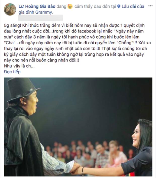 """Một phần """"tâm thư"""" của Gia Bảo trên trang Facebook cá nhân."""
