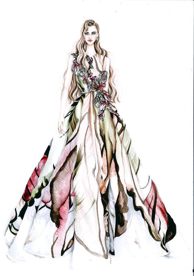 Bản vẽ minh họa một thiết kế nằm trong BST Haute Colture xuân, hè 2015 qua nét vẽ của họa sĩ Lâm Á Luân.