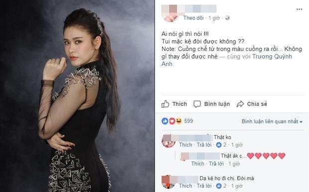 """Một số """"fan ruột"""" bày tỏ sự ủng hộ đối với Trương Quỳnh Anh dù thần tượng đang vướng lùm xùm."""