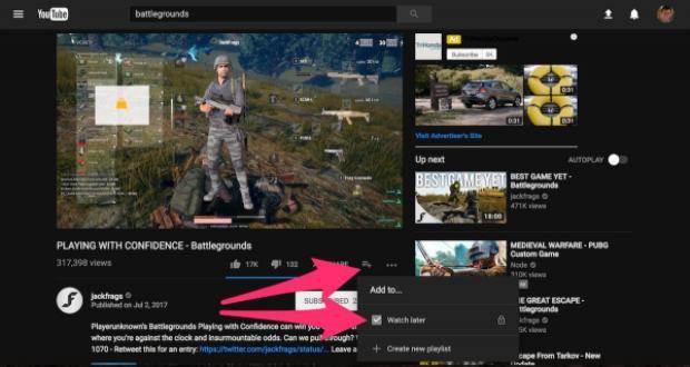 Hãy click vào nút Add To (ở bên cạnh nút Share và nằm ngay bên dưới video) và click vào Watch Later. Bạn có thể xem những video đã lưu lại này bằng cách click vào biểu tượng ba đường thẳng nằm ngang bên cạnh logo YouTube và ở thực đơn xổ xuống, chọn Watch Later.
