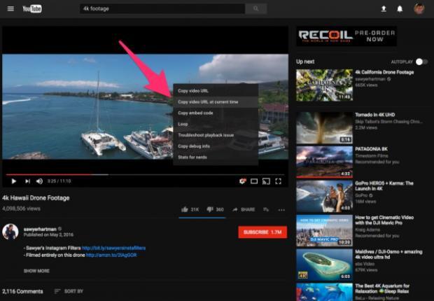 """Hãy làm điều này bằng cách chọn mốc thời gian bạn muốn chia sẻ, nhấn tạm dừng video, click chuột phải và chọn """"Copy video URL at current time""""."""