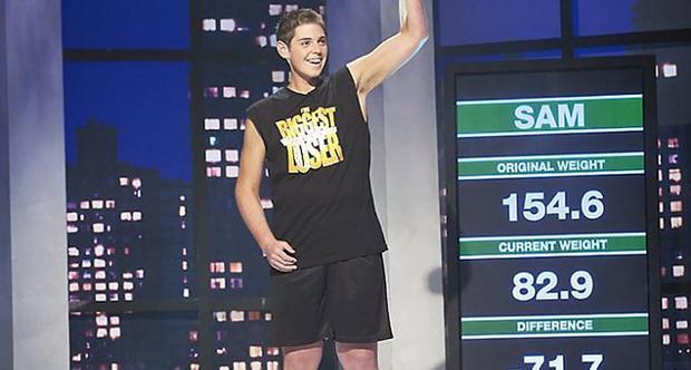 """Sau khi tham gia """"The Biggest Loser"""" 12 tuần, Sam giảm được 71kg và trở thành người chiến thắng trong chương trình đó."""