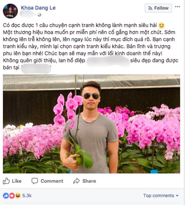 Bị tố quỵt 3 triệu tiền mua hoa, soái ca khởi nghiệp được Hoa hậu Đặng Thu Thảo lên tiếng bênh vực
