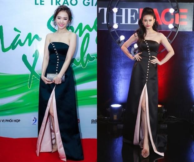 Một lần khác, bà xã Tim lại mặc cùng thiết kế với bà xã Trấn Thành. Với vòng một nảy nở cùng vóc dáng chuẩn thước. Trong thiết kế này, Quỳnh Anh có phần nổi bật hơn ca sĩ gốc Hàn nhiều.