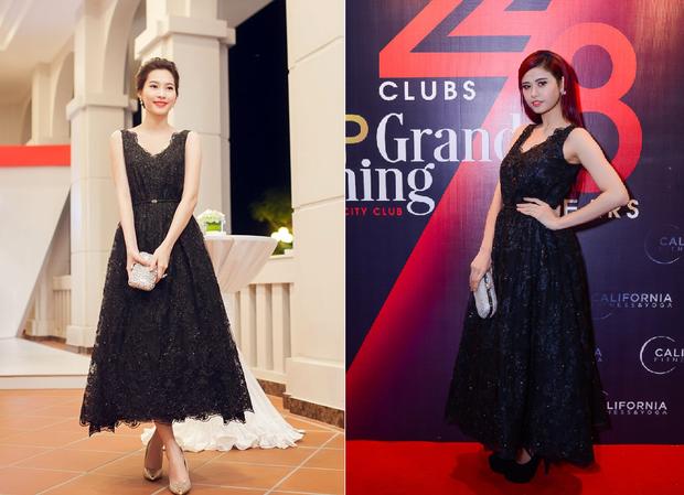 Một lần khác mặc cùng thiết kế với hoa hậu Đặng Thu Thảo, Trương Quỳnh Anh có phần lép vế bởi chiều cao. Tuy nhiên, bộ váy cũng khá phù hợp với ca sĩ hơn nếu nó có thể ngắn hơn một chút.