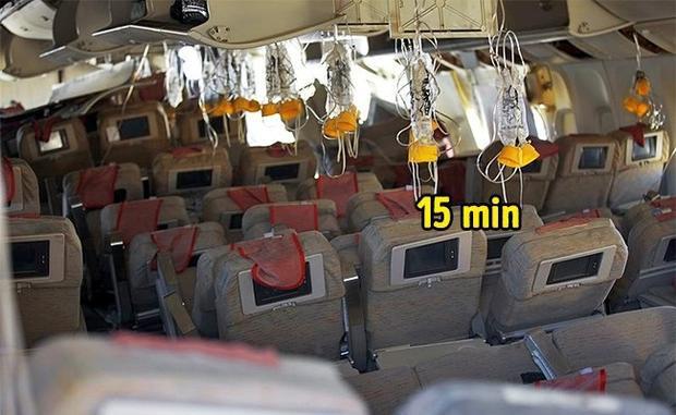 1. Mặt nạ oxy chỉ đủ cho 15 phút:Mặt nạ oxy chỉ tác dụng trong 15 phút, nhưng bạn đừng hoảng loạn-vì khoảng thời gian này cũng vừa đủ dài để phi công hạ máy bay xuống độ cao bạn có thể thở bình thường được.