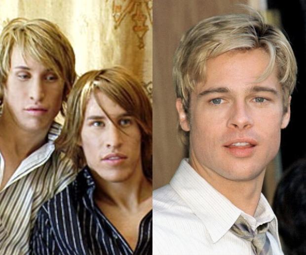 Phiên bản nhái và phiên bản thực của nam tài tử Hollywood Brad Pitt.
