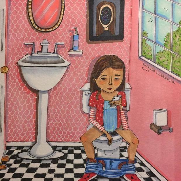 Khoảnh khắc vào toilet, thả lỏng mình, lướt điện thoại mà không bị ai nhìn ngó, quấy rầy thật tuyệt vời.