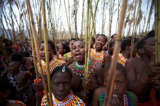 Mỗi năm, có hàng nghìn thiếu nữ Zulu tham gia lễ hội múa sậy để chứng tỏ sự trong trắng của mình.