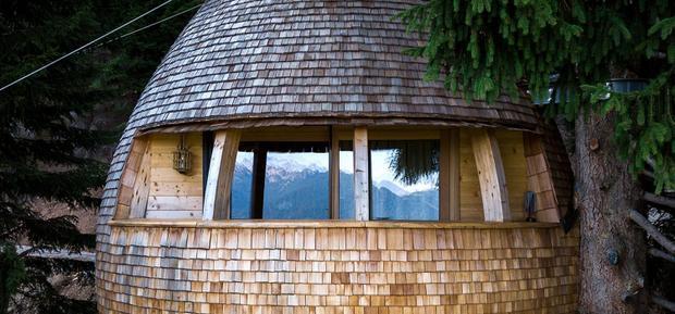 Ngôi nhà trên cây có hình trái tùng ở Alpes, Ý, có cửa sổ trên mái nhà, nơi khách có thể ngắm nhìn các vì sao qua những ngọn cây. Ảnh: Massimo Crivellini