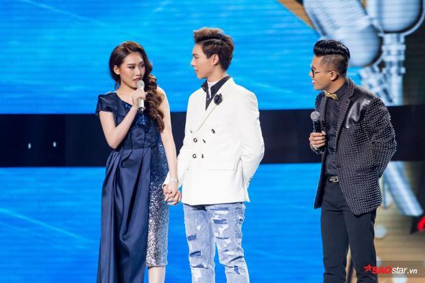 Sau màn ngất xỉu vì thua Hoà Minzy, Erik đẹp đôi bên Hoa hậu Hoàng Kim trên sân khấu