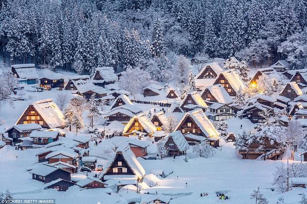 """Nhật Bản: Mùa đông ở """"xứ sở Mặt trời mọc"""" được ví như là một giấc mơ, với những ngôi nhà được thắp đèn lung linh trên nền tuyết trắng xóa ở Chubu. Nhưng đó cũng chỉ mới là một phần nhỏ trong số rất nhiều những hoạt động lễ hội khác vào mùa đông ở Nhật Bản."""