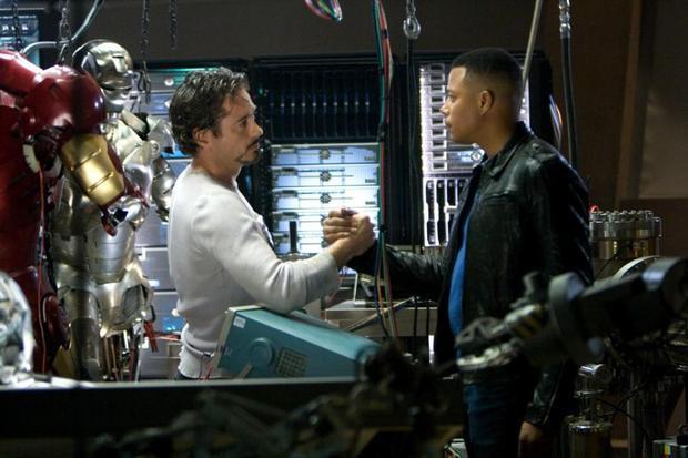 IRON MAN, Robert Downey Jr., Terrence Howard, 2008. ©Paramount