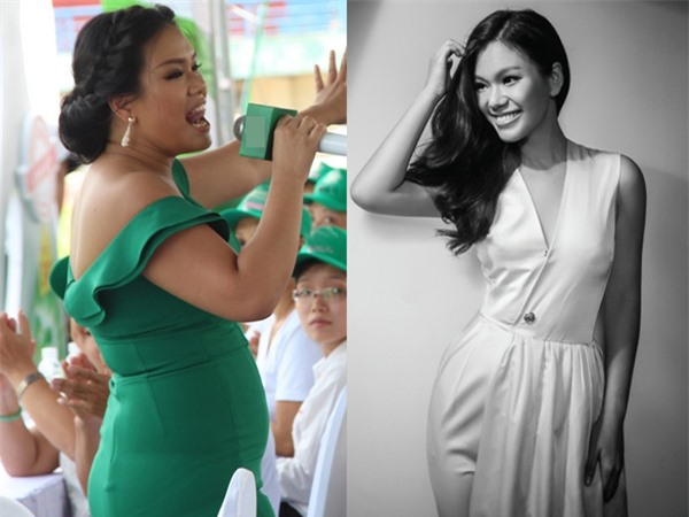 Hình ảnh Phương Vy trước và sau khi tăng cân gây sốc khán giả truyền hình.