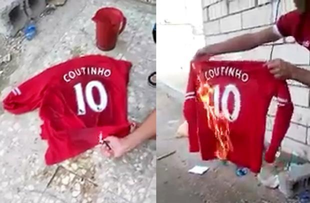 CĐV Liverpool đốt áo đấu in số 10 và tên Coutinho.