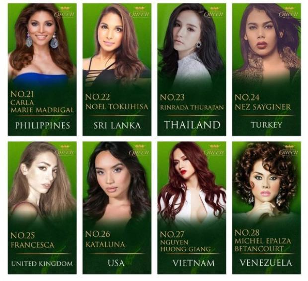 Hình ảnh Hương Giang Idol khoe sắc cùng đại diện các nước tại Miss International Queen 2018.