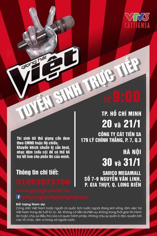 Thông tin về vòng tuyển sinh trực tiếp chương trình Giọng hát Việt 2018.