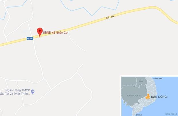UBND xã Nhân Cơ nơi xây dựng sân tennis. Ảnh:Google Maps.