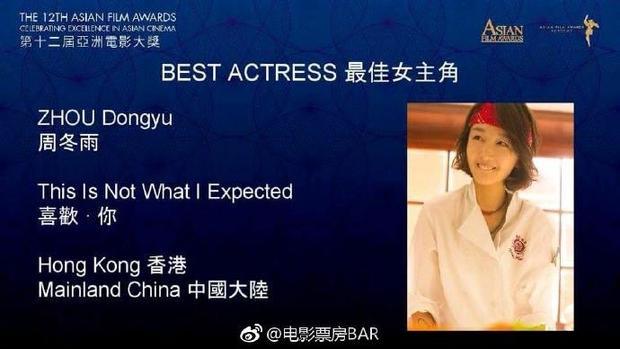 """Nữ diễn viên trẻ Châu Đông Vũ vinh dự được đề cử hạng mục """"Nữ chính xuất sắc nhất""""."""