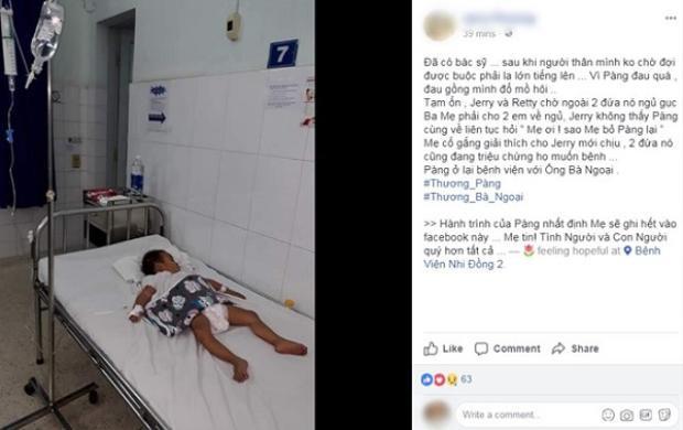 Chị Phương thông báo Pàng nhập viện. Ảnh chụp màn hình.