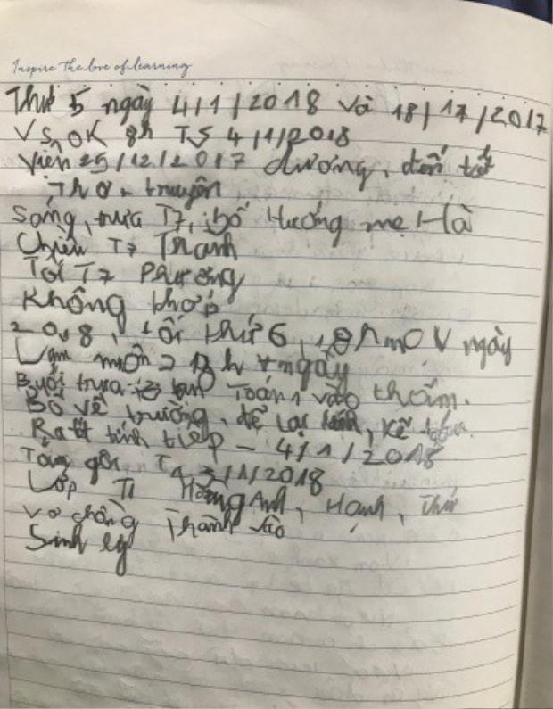 Những nét chữ còn nguệch ngoạc trong sổ nhật ký của anh Hải. Ảnh:Nam Phương.